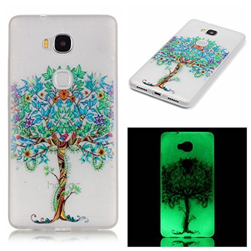Price comparison product image Huawei Honor 5X Luminous Case ,BONROY® Creative Unique Design Fluorescent Green Effect Night Glow In The Dark ,Soft TPU Cover Ultra Thin Anti-Scratch Shock Protective Back Case Cover Shell for Huawei Honor 5X