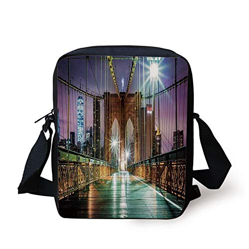 LULABE Landscape,Brooklyn Bridge Pedestrian Walkway Before Sunrise American Landmark Picture,Purple Brown Print Kids Crossbody Messenger Bag Purse (Popcorn Brooklyn)