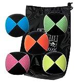 Lotto 5 palle giocoleria giocoleria Pro Flash (4 facce) in custodia di velluto pieno