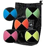 Lot 5 pelotas de malabarismo malabarismo Pro Flash (4 caras) en la bolsa de terciopelo completa