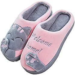JACKSHIBO Mujer Plush Calido Cartoon Gato Zapatillas Invierno Cómodas Suave Casa Pareja Slipper para Hombres