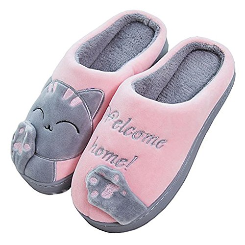 JACKSHIBO Herren Hausschuhe, Warme Plüsch Hausschuhe Indoor rutschfeste Slippers Cartoon Cat Pantoffeln Für Damen, Rosa, 36/37 EU