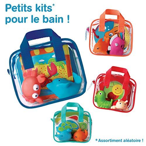 LUDI - Livre déveil en plastique pour jouer dans le bain + 2 animaux arroseurs. Dès 6 mois. Plusieurs modèles de jouets disponibles. Sac de rangement inclus. Jouet à emmener à la plage - 2150