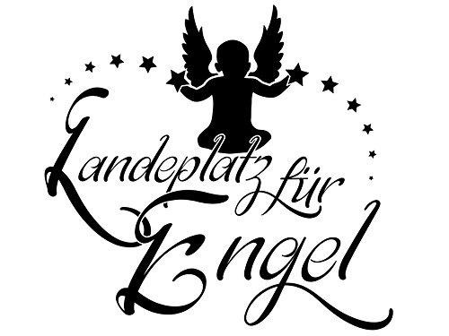 Wandtattoo-bilder® Wandtattoo Sprüche Landeplatz für Engel Nr 2 Schlafzimmer Wandsticker Wandaufkleber Sterne Farbe Pastellorange, Größe 60x56 (Landeplatz 11)