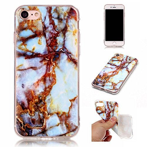 OnlyCase iPhone 7 / iPhone 8 Hülle Handyhülle Schutzhülle, Premium Stilvolle Marmor Muster Erstklassiger TPU Weiche SilikonGel Schutzhülle Telefon, Rostiges Eisen -