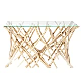 Design Teakholz Konsole DRIFTWOOD 120 cm mit Glasplatte Glaskonsole Tisch Glastisch