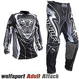 WULF ATTACK Adulti Tuta Moto Pantaloni e jersey MotoCross Scooter Enduro Sci Tuta da ginnastica (XL...