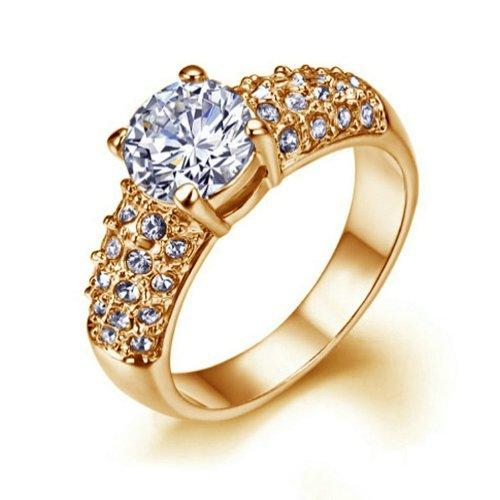 Yoursfs brillante simulato rotonda Diamond Centre pavimenta cubici fascia di nozze Anelli di fidanzamento Zirconia in oro rosa 18 carati