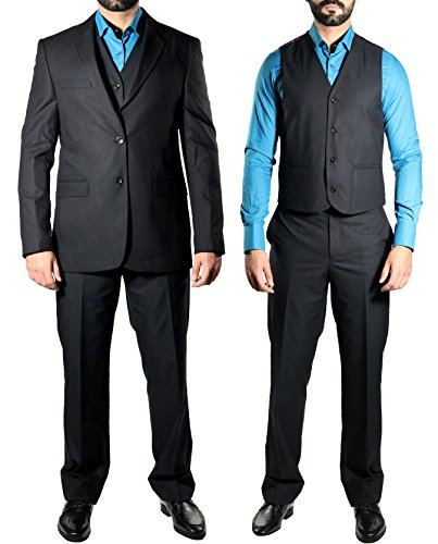 MUGA Homme Costume avec veste, 120S, Noir Noir