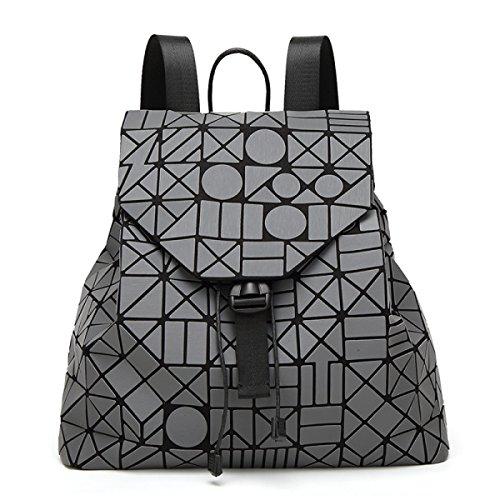 Opaco Zaino Signora Irregolare Cucitura Zaino Fulmini Forma Rhinestone Viaggi Big Bag Luminoso Colore Borsa Gray