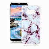 Samsung Galaxy S8 Marmor Hülle, Yunbaozi Marmor Entwurf Weich Hülle Silikon-Gummi Schützend Soft Marble Case Naturstein Textur Flexibel Glatt Étui Anti-Kratzer Granit-Muster Hülle für Samsung Galaxy S8 - Rot / Weiss
