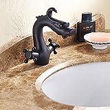 Tougmoo Creative Forme de dragon de salle de bain mélangeurs Lavabo deux Cross Poignées Eau chaude et froide Lavabo Robinet