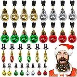 Elcoho 30 Pezzi Ornamenti per Barba Natalizia con Custodia Classica per Capelli Natalizi Natalizi bagattini campanelli per Uomo Facili attaccatura per Mini Ornamenti Baffi (30)