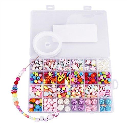 Spielzeug 500 pcs Pop Perlen Bildung Lernspielzeug DIY Schmuckherstellung Set Halskette Armband Kunst Handwerk Geschenk Spielzeug für Mädchen ab 3 Jahre ()