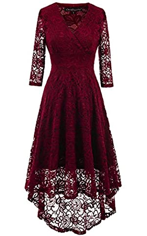 LANOMI Damen A-Linie Vokuhila Keider Elegant Spitzenkleid Hochzeitskleid Swing Partykleid Cocktailkleid Abendkleid V Ausschnitt Vorne Kurz Hinten Lang (Etikett XL/ EU 42-44,