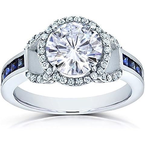 Forever Brilliant Moissanite, con diamante e zaffiro & CTW 3-Anello di fidanzamento in oro bianco 14 k - Moissanite Diamante Zaffiro
