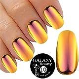 Poudre caméléon à effet miroir de couleur changeante pour ongles - poudre pailletée dorée et violette