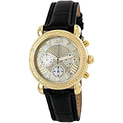 """Just Bling Ladies JB-6210L-A """"Victory Black Gold"""" Leather Diamond Watch"""