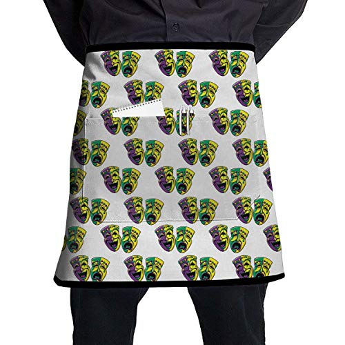 Mardi Gras Carnival Mask Polyester Waist Apron with Pockets Adjustable Long Strap Waterproof Apron for Server Kitchen Garden Shop Or BBQ
