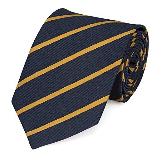 arini Krawatte 8 cm in verschiedenen Farben,Navyblau-Gold gestreift (Gold-farbe-kombination)