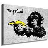 Photo leinwand24image sur toile Banksy Monkey Banana/mural XXL Photos et Wallfillers Canvas images de toile montée sur cadre en bois-Dimensions au choix. pas poster ou Affiche/Moins cher que Peinture à/Images de toile, châssis 561N de photos, Bild - S/W 70x50cm