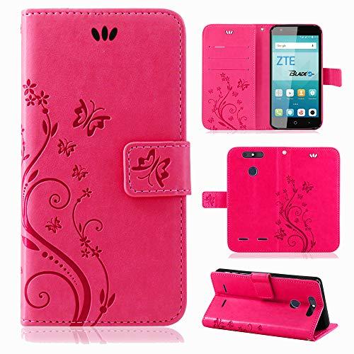 betterfon | Flower Case Handytasche Schutzhülle Blumen Klapptasche Handyhülle Handy Schale für ZTE Blade V8 Mini Pink