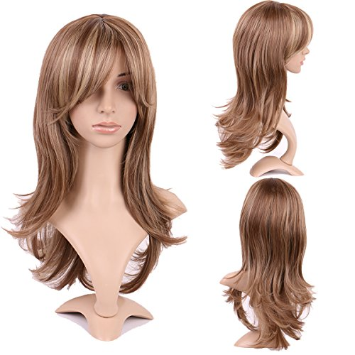 15.5 pollici fashion parrucca kanekalon parrucca lunga da donna capelli ondulati mossi stile europeo resistente al calore marrone/biondo highlight