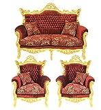 Casa Padrino Barock Wohnzimmer Set Master Bordeaux Muster Samtstoff / Gold - 2er Sofa + 2 Sessel - Limited Edition!