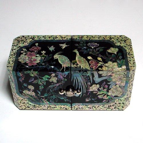 Mother of Pearl Design: Pfau, schwarz lackiert Schmuckschatulle aus Holz, Handarbeit, asiatisches Spiegel, (Spiegel Schwarz Asiatischen)