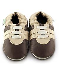 Snuggle Feet - Chaussons Bébé en Cuir Doux - Baskets Marrons