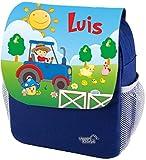 Mein Zwergenland Sac à Dos Maternelle Happy Knirps Suivant Imprimé avec Nom 6L, Bleu - Tracteur, Rucksack einzeln