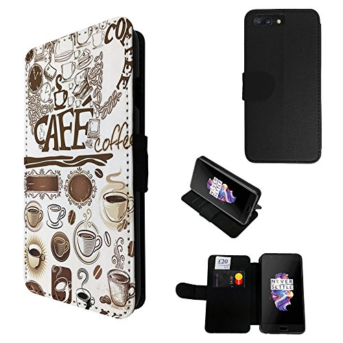002309 - Collage Coffee Mugs Coffee Beans Design Oneplus 5 TPU Leder Brieftasche Hülle Flip Cover Book Wallet Stand halter Case (Coffee Bean-halter)
