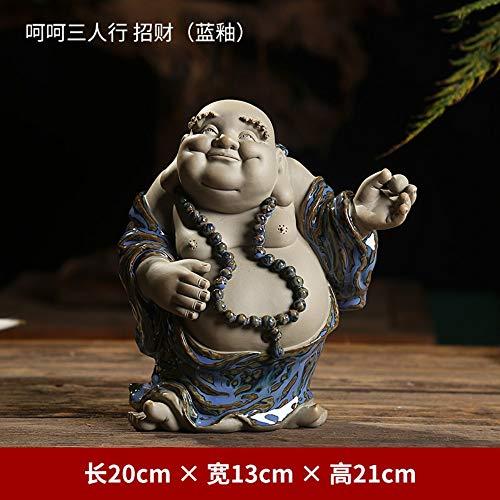 Foshuo Lachende Buddha-Statue Für Viel Glück,Reichtum Und Glück,Chinese Blue Keramik Big Bauch Ball Maitreya Figur Für Zen-Meditation,Handgefertigte Skulptur Ornamentfor Home-Desk-Dekor