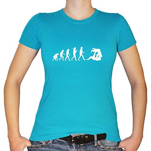Shirtfun24 Damen Evolution Judo Kampfsport Karate Fun T-Shirt, Türkis, M