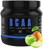 GYM-NUTRITION® — BCAA + VITAMIN B6 – Amino-Säuren hochdosiert, vegan – Leucin, Isoleucin, Valin – 2:1:1 Aminosäure-Pulver – Made in Germany – Geschmack: APFEL-BIRNE — EINWEG