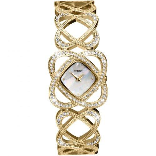 Seksy Gold Coated Stainless Steel Crystalised Bracelet Watch