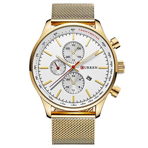Mens Quartz Analogue Watch Mesh Stainless Steel Watchband Waterproof Business Man Wristwatch With Calendar(Gold White)