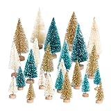 Yalulu 24 Stück Gemischt Größe Farbe Schneetannen Künstlicher Weihnachtsbaum Kunstbaum Christbaum Tannenbaum mit ständer Weihnachtsdeko Weihnachten Tischdeko Geschenk
