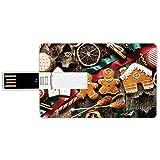 USB-Sticks 16GB Kreditkartenform Lebkuchenmann Memory Stick-Bankkartenstil Köstliche selbst...