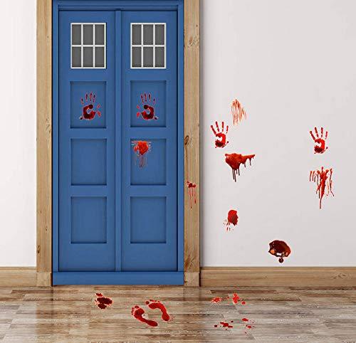 Kyzaa 30 * 90 Cm Blut Palm Muster Wandaufkleber Abziehbild Für Glücklich Verrückte Halloween Decor Fenster Wohnzimmer Dekoration