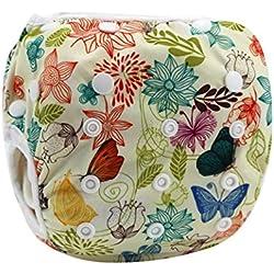 HAPPY CHERRY Babywindeln Waschbare Baby Schwimmwindel Windel Hose Blumenmuster Schmetterling Drucken Baby-Tuch Windeln Stoffwindeln Größe Verstellbar - Bunte