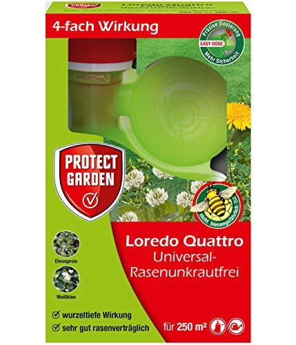 PROTECT GARDEN Universal-Rasenunkrautfrei Loredo Quattro Rasen-Unkrautvernichter (ehem. Bayer Garten), gegen Ehrenpreis, Gundermann, Hornkraut und Gemeine Braunelle, 250 ml