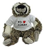 Bradypus de peluche con Amo Sammy en la camiseta (nombre de pila/apellido/apodo)