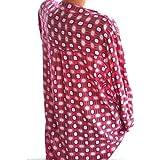 Goosun Damen Freizeit V-Ausschnitt Locker Geometrie Shirt Bluse Lange Ärmel Lose Oberteile Casual Langarm Taschen Oversize Hemd Freizeithemd Weich T-Shirt Sommer Herbst Tops(Rot,L2)