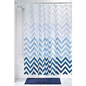 mDesign – Cortina de ducha con estampado de zigzag – Accesorio de baño con medidas perfectas (183 cm x 183 cm) – Cortinas de baño de color azul