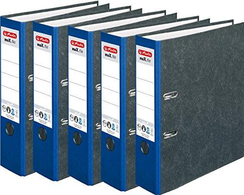 HERLITZ Ordner maX.file nature A4 8cm Wolkenmarmorbezug selbstklebendes Rückenschild | 10er Maxi Sparpack in diversen Farben zur Auswahl (Blau, 10)
