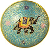 "AVS STORE ® Brass Decorative Dry Fruit Bowl - Bidri Work Size 5""Beautiful Assorted Color Elephant Harness Gift"