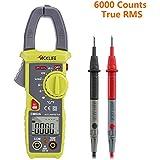Tacklife CM02A Advanced Digital Clamp Meter Stromzange mit 6000 Counts,True RMS, Temperatur, Wechselstrom, AC / DC Spannung, Widerstand, Kapazitanz Test, Ein Ideales Geschenk für Vatertag