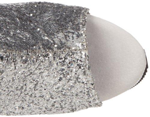 Delight-1018G, Design Plateau Stiefelette Schnürung hinten Glitter Slv Gltr/Slv Chrome