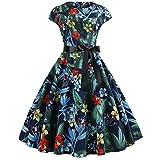 Gonna Donna Elegante Sasstaids Annata 1950 retrò Rockabilly Polka Vestito da Audery Swing Senza Maniche Abito da Cocktail Partito Hepburn Vento